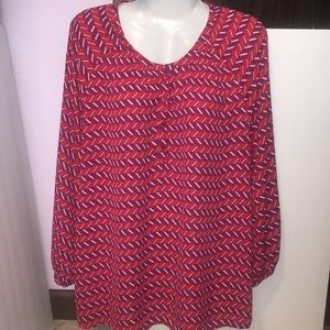 Halogen red purple patterned top. Size XL.